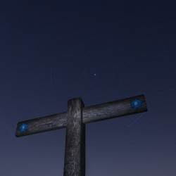 East/West Meridian Signpost with North Star and Trails